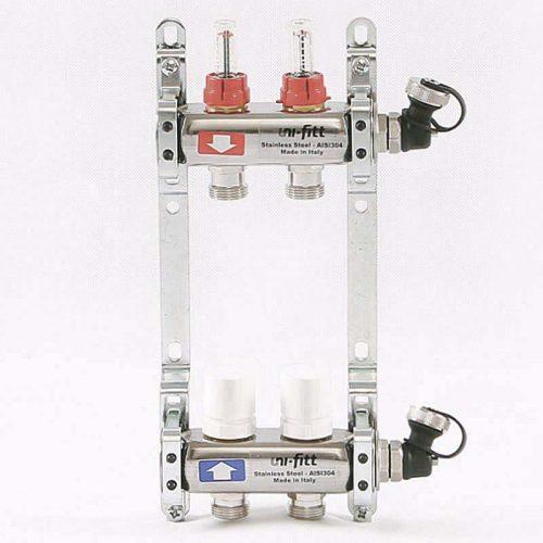 UNI-FITT Коллекторная группа 1 х 3/4 2 выхода с расходомерами и термостатом и вентилями, нержавеющая сталь